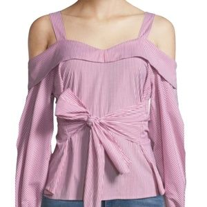 LAUNDRY by SHELLI SEGAL OFF SHOULDER STRIPE TOP 6